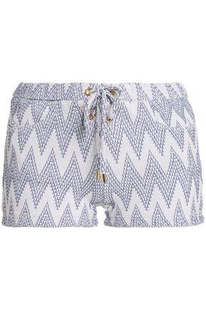 MELISSA ODABASH Lace-up jacquard-knit shorts