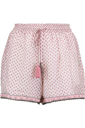 TALITHA Printed cotton and silk-blend shorts