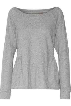 CURRENT/ELLIOTT The Girlie Sweat marl cotton-blend jersey peplum top