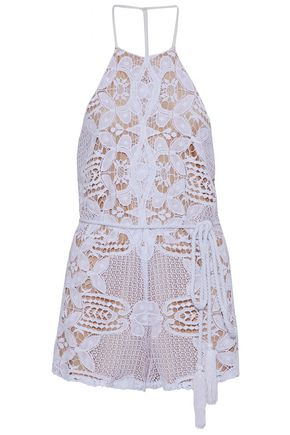 MIGUELINA Tasseled guipure lace playsuit