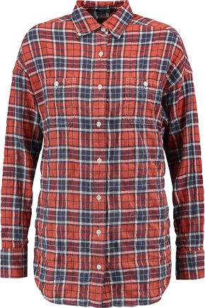 R13 Twist-back cutout checked cotton-blend shirt