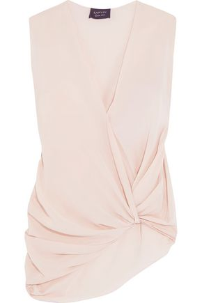 LANVIN Knotted draped silk-crepe top
