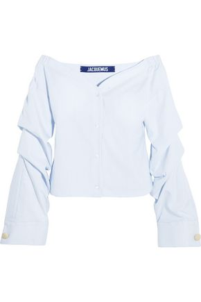 JACQUEMUS Off-the-shoulder striped cotton-poplin top