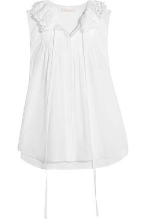 CHLOÉ Pussy-bow broderie anglaise-trimmed cotton-poplin top