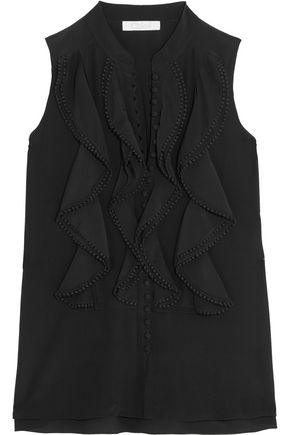 CHLOÉ Ruffled silk crepe de chine top