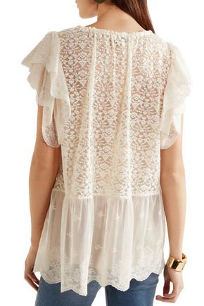 STELLA McCARTNEY Lace and embroidered tulle blouse