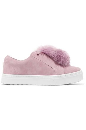 SAM EDELMAN Leya faux fur-embellished suede slip-on sneakers