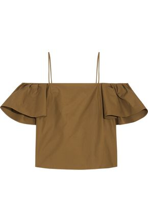 FENDI Off-the-shoulder cotton-poplin top