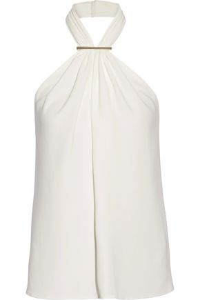 JASON WU Embellished stretch-cady halterneck top