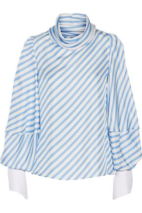 MONSE Draped striped silk-twill top