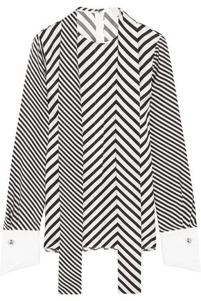 MONSE Cotton piqué-trimmed striped silk-twill blouse