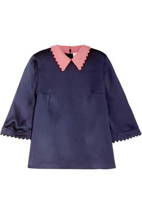 ROKSANDA Wool and hammered silk top
