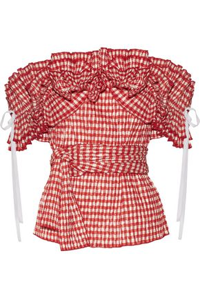 ROSIE ASSOULIN Iris off-the-shoulder ruffled gingham seersucker top