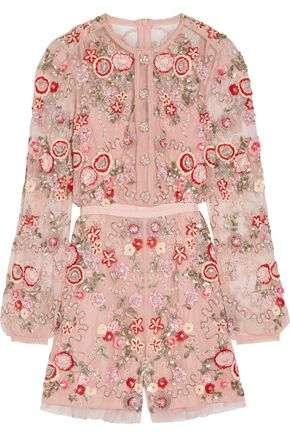 NEEDLE & THREAD Meadow embellished tulle playsuit