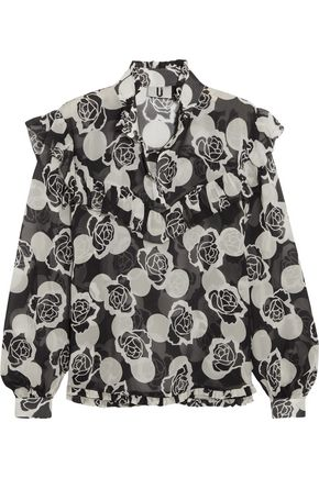 TOPSHOP UNIQUE Ruffled floral-print silk-georgette blouse