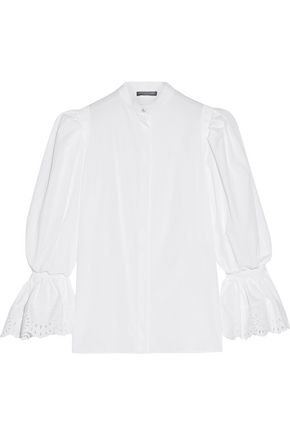 ALEXANDER MCQUEEN Broderie anglaise-trimmed cotton-poplin blouse