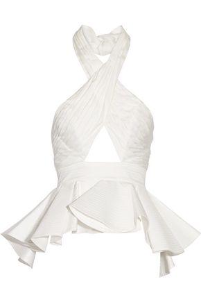 JOHANNA ORTIZ Corinto cutout ruffled cotton-poplin halterneck top