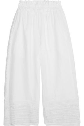 MIGUELINA Ria cropped crochet-trimmed linen wide-leg pants