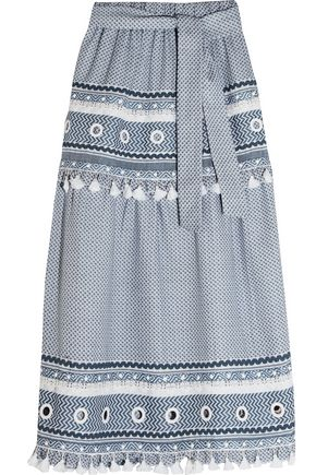 DODO BAR OR Embellished lace-trimmed cotton-jacquard skirt