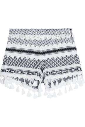 DODO BAR OR Embellished lace-trimmed cotton-jacquard shorts