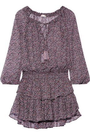 LOVESHACKFANCY Popover floral-print silk-georgette mini dress