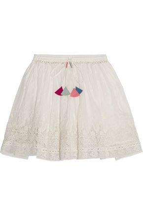 LOVESHACKFANCY Phoebe crochet-trimmed Swiss-dot cotton skirt