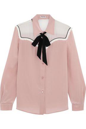MIU MIU Pussy-bow chiffon-paneled silk crepe de chine blouse