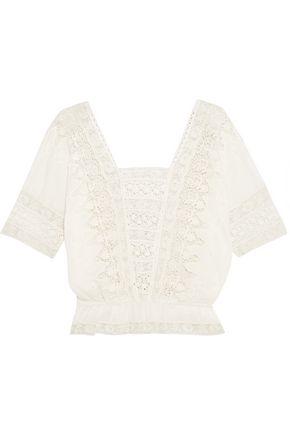 LOVESHACKFANCY Jane crochet-trimmed cotton top
