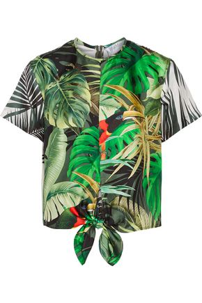 MAX MARA Printed silk-satin top