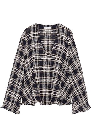 BEAUFILLE Calypso plaid open-knit cotton top