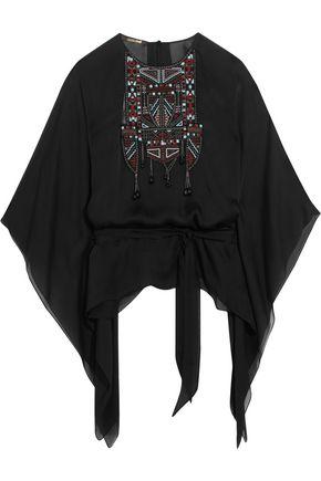 ROBERTO CAVALLI Embellished silk-chiffon kaftan