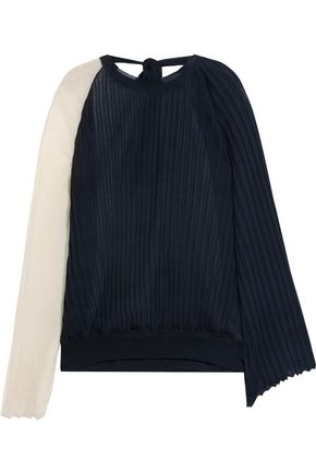 MARNI Two-tone plissé silk and cotton-blend top