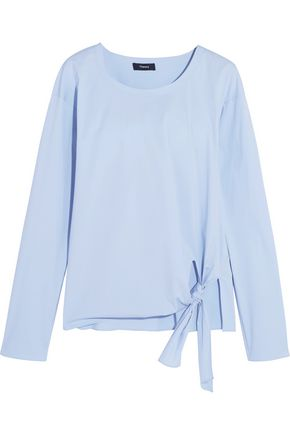 THEORY Serah tie-front cotton-blend poplin top
