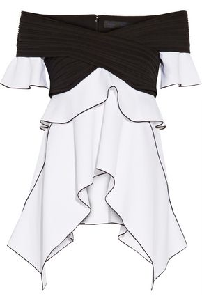 PROENZA SCHOULER Off-the-shoulder plissé-paneled stretch-crepe top