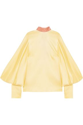 ROKSANDA Open-back hammered silk-satin blouse