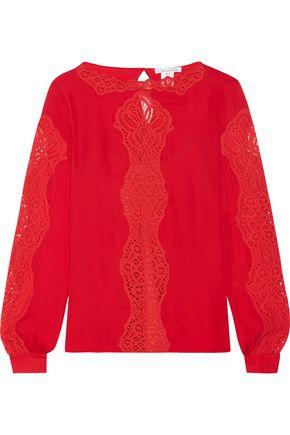 OSCAR DE LA RENTA Lace-paneled silk-chiffon blouse