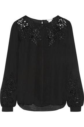 OSCAR DE LA RENTA Broderie anglaise silk-chiffon blouse