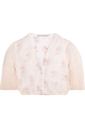 EMILIA WICKSTEAD Leslie cropped floral-print cotton and linen-blend gauze top