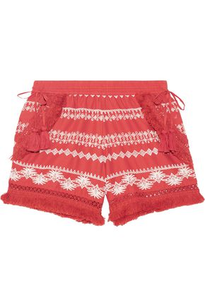 RACHEL ZOE Karlene tasseled embroidered cotton-gauze shorts