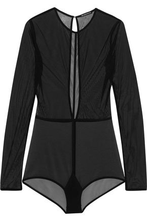ANN DEMEULEMEESTER Open-back stretch-tulle bodysuit
