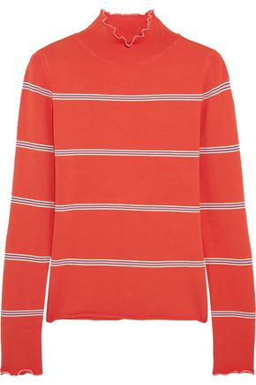 TOPSHOP UNIQUE Margot striped stretch-knit turtleneck top