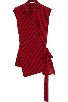 T by ALEXANDER WANG Wrap-effect checked gauze top