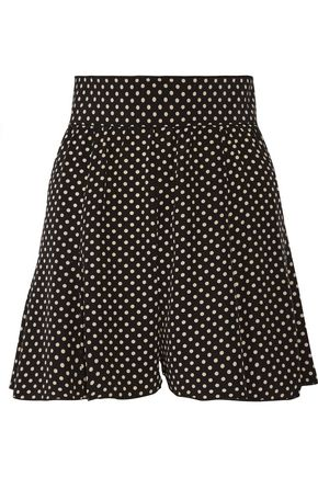 MARC JACOBS Pleated polka-dot silk crepe de chine shorts