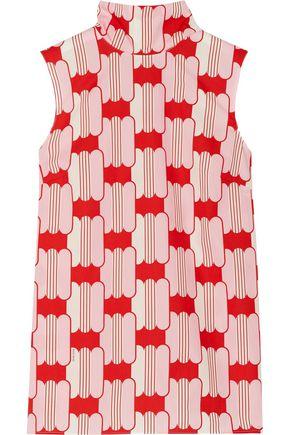MIU MIU Bow-embellished printed cotton-poplin top