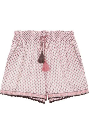 TALITHA Tasseled embellished printed cotton and silk-blend gauze shorts