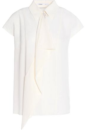 AGNONA Draped silk-crepe blouse