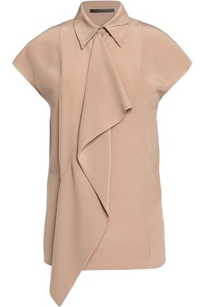 AGNONA Draped silk-crepe top
