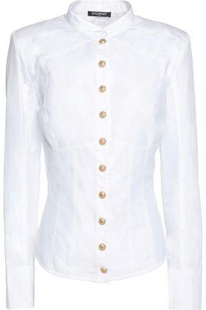 BALMAIN Paneled cotton-poplin shirt
