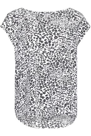 JOIE Rancher leopard-print washed-silk top