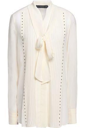 BELSTAFF Walton pussy-bow studded silk-georgette blouse